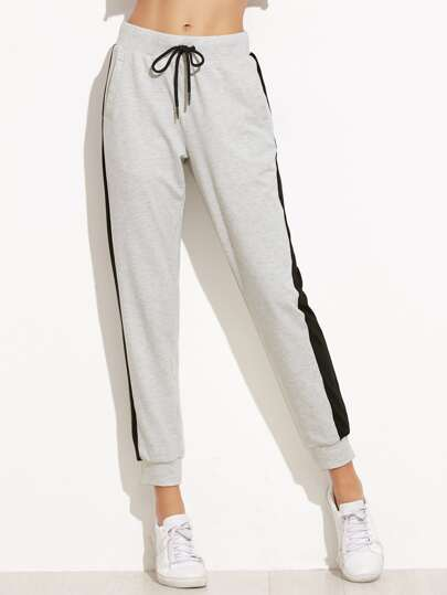Heather Grey Contrast Panel Drawstring Sweat Pants