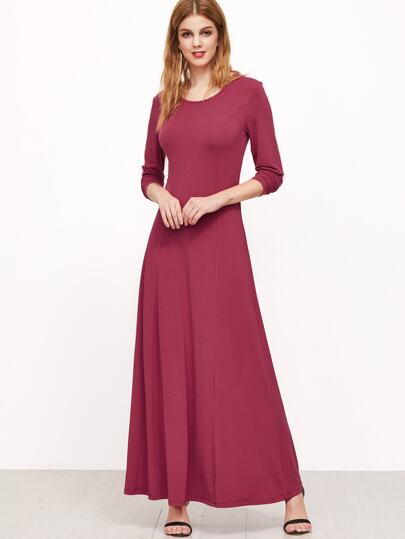 Hot Pink Long Sleeve A Line Maxi Dress