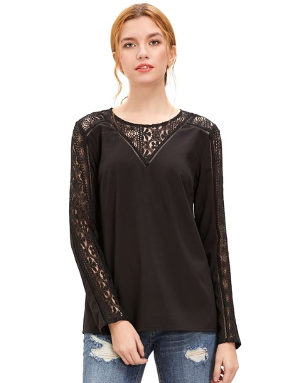 Black Lace Trim Langarm-Bluse