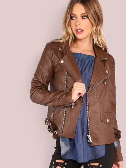 Faux Leather Moto Zip Jacket BROWN