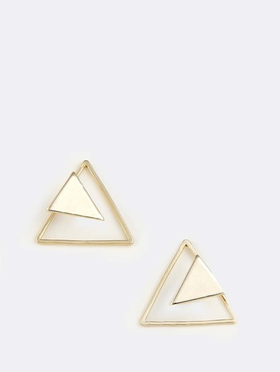 Hollow Double Triangle Earrings GOLD