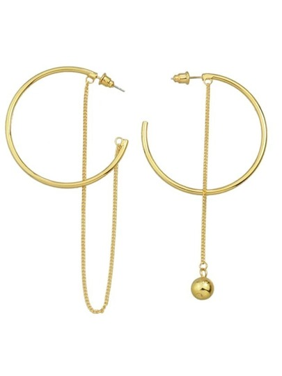 Gold Color Big Round Hoop Earrings With Long Chain