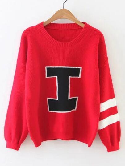 Red Varsity Print Drop Shoulder Sweater