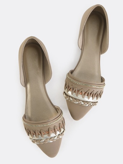 Embroidered Pointy Toe Flats TAUPE