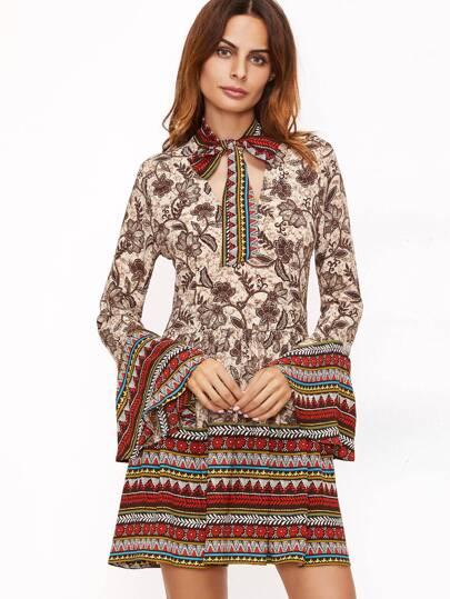 Robe imprimé floral col avec lacet manche cloche - multicolore