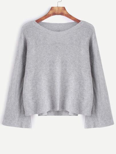 Grey Drop Shoulder High Low Sweater