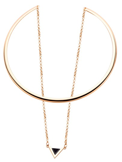 Gold Bar Collar Geometric Pendant Necklace