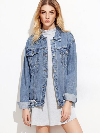 Blue Bleach Wash Distressed Denim Jacket