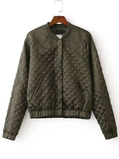 Army Gren Embroidered Quilted Jacket