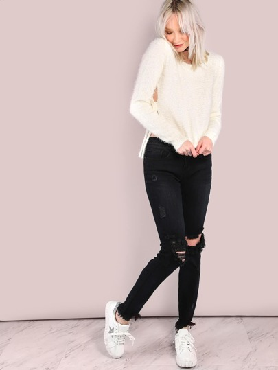 Distressed Low Rise Straight Raw Cut Jeans BLACK