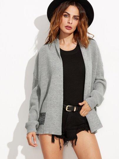 Grey Geo Pattern Back Shawl Collar Sweater Coat