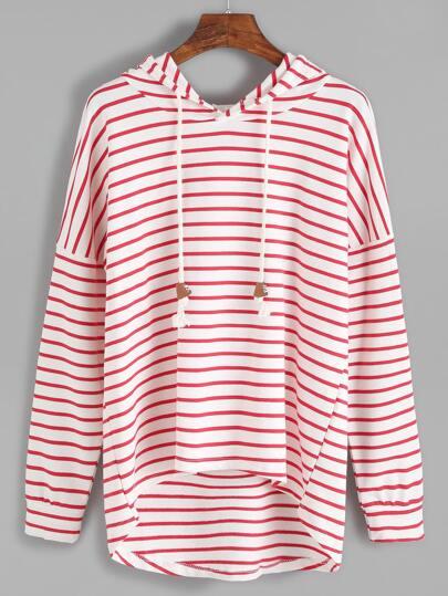 Striped Drop Shoulder Dip Hem Drawstring Hooded Sweatshirt