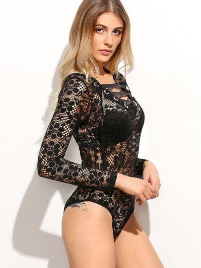 Black Floral Lace Up Bodysuit