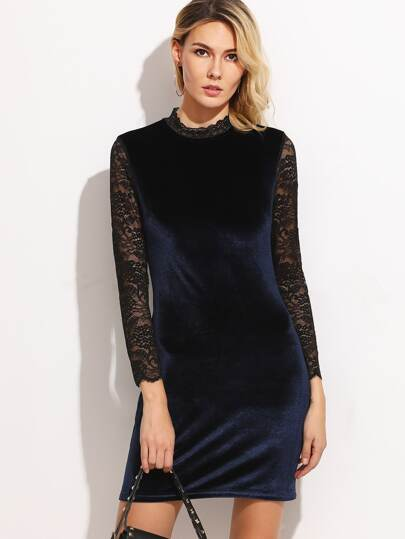 Navy Contrast Lace Sleeve Keyhole Back Velvet Dress