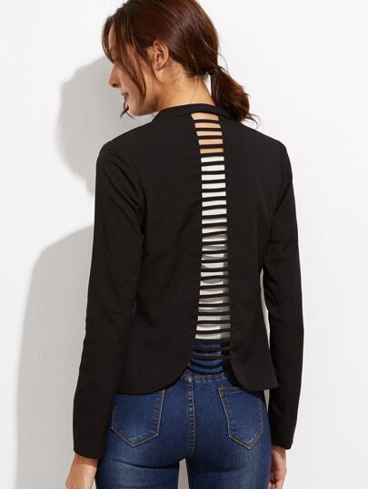 Black Shawl Collar Ladder Cutout Back Blazer