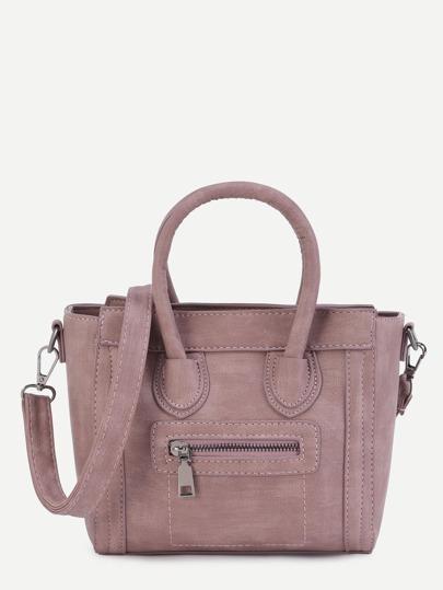Розовая кожаная модная сумка на ремне