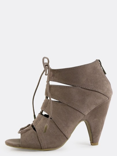 Lace Up Suede Cone Booties TAUPE