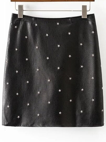 Black Star Studded Back Zipper PU Skirt