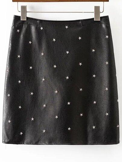 Falda de PU con remaches de estrellas - negro