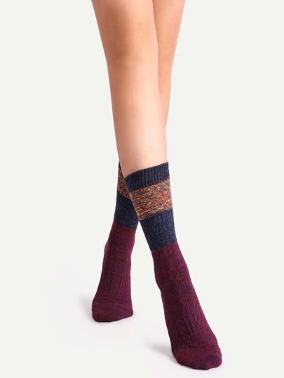 Colorblock Mottled Ribbed Socks