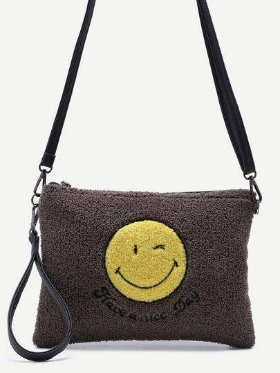 Smiling Face Grey Zip Closure Crossbody Bag