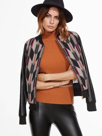 Black Geometric Print PU Sleeve Bomber Jacket