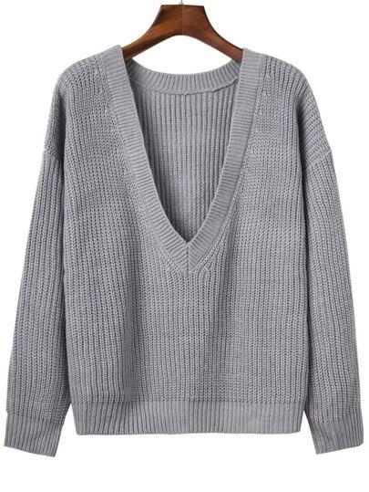 Grey Ribbed V Neck Drop Shoulder Sweater