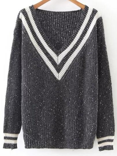 Striped V Neck Ribbed Trim Loose Sweater
