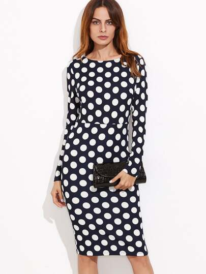 Navy Polka Dot Print Pencil Dress