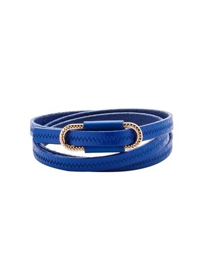 Blue Metal Buckle Knurling Skinny Belt