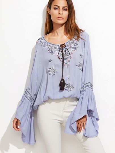 Blue Tie Neck Bell Sleeve Embroidered Top