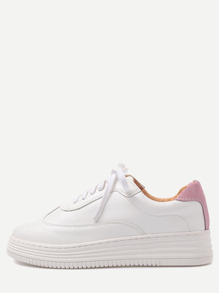 White and Pink PU Rubber Sole Low Top Sneakers