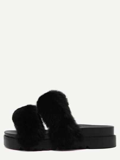 Black Rabbit Hair Peep Toe Flatform Slippers