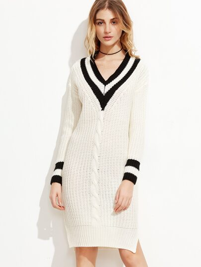 Contrast Striped Trim V Neck Cable Knit Dress
