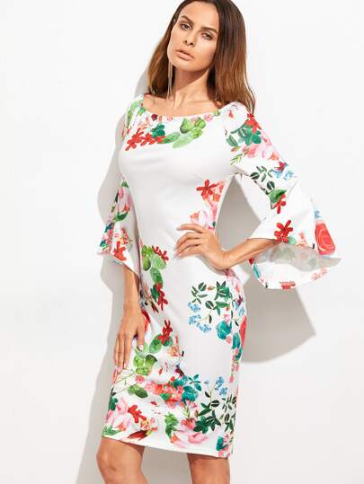 White Floral Print Bell Sleeve Sheath Dress