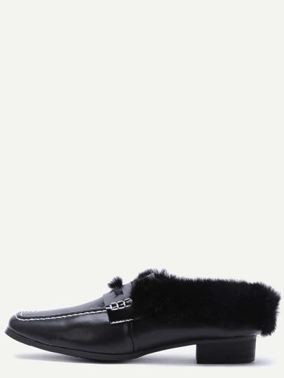 Gefütterte Schuhe Quadratische Zehe Kunstpelz -schwarz