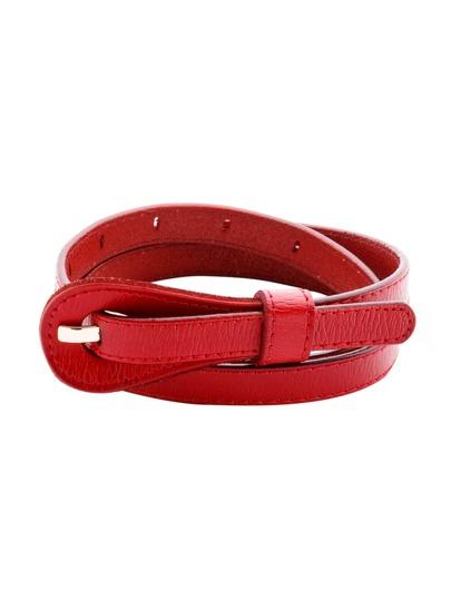 Red Simple Skinny Belt