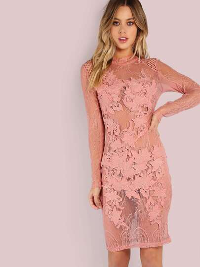 Mesh Floral Crochet Bodycon Dress ROSE