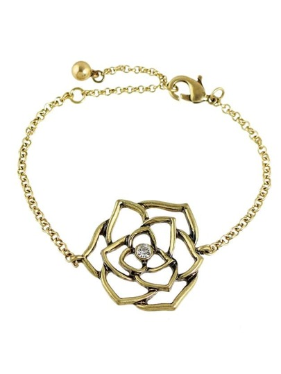 Vintage Style Rhinestone Flower Chain Bracelet