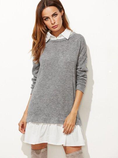 Vestido 2 en 1 estilo sudadera - gris