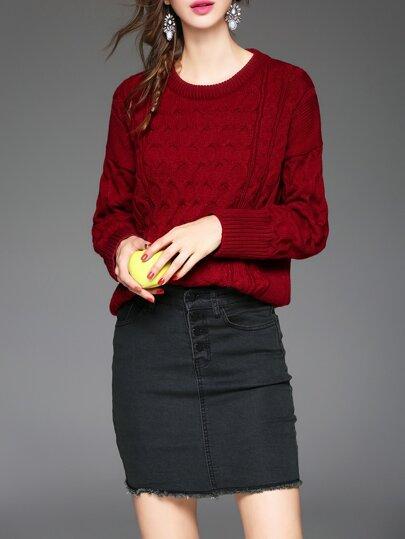 Top de punto con falda de bolsillo - rojo