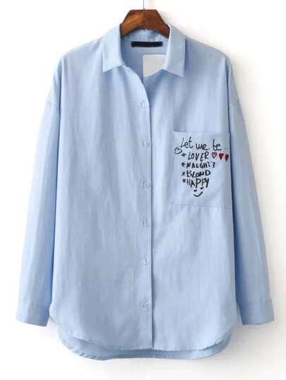 Blue Graffiti Print Curved Hem Shirt