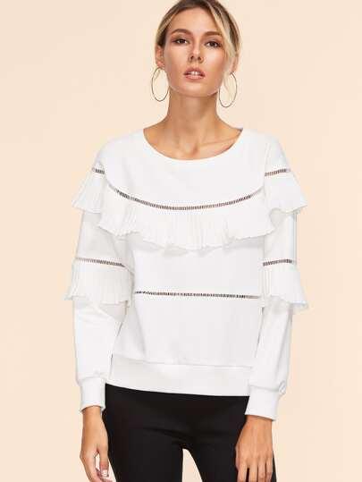 White Eyelet Crochet Insert Ruffle Trim Sweatshirt