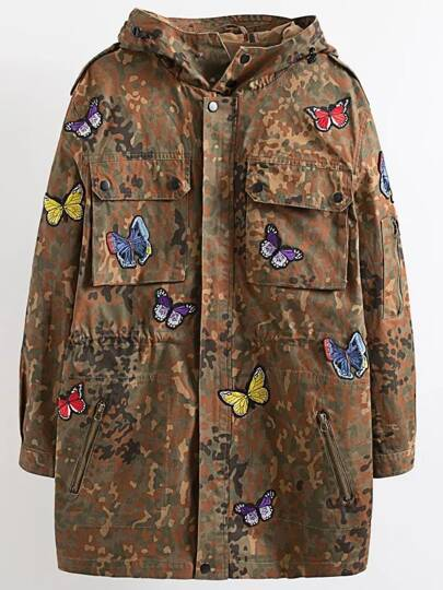 Butterfly Embroidery Hooded Camouflage Long Coat
