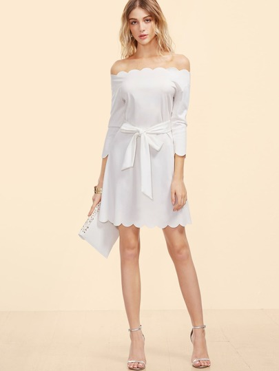 White Off The Shoulder Belted Scallop Dress