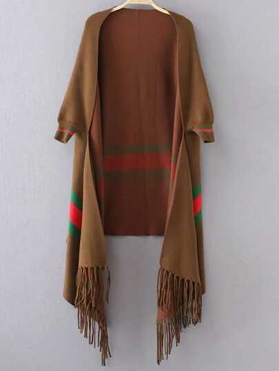 Brown Stripped Open Front Fringe Poncho Sweater