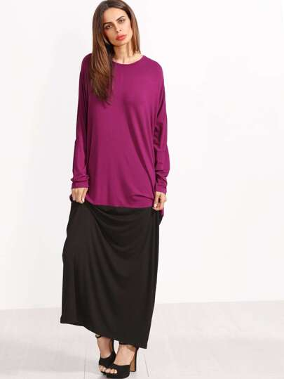 Color Block Round Neck Long Sleeve Maxi Dress