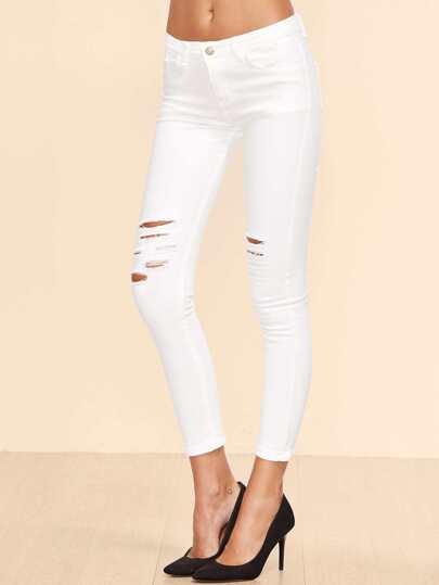 Pantalones con detalle de rotos en denim - blanco