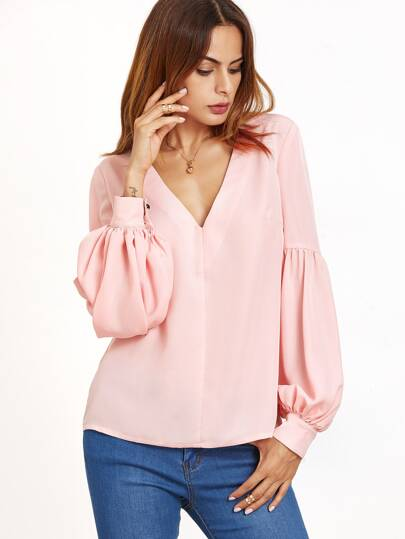 Pink V Neck Bishop Sleeve Top