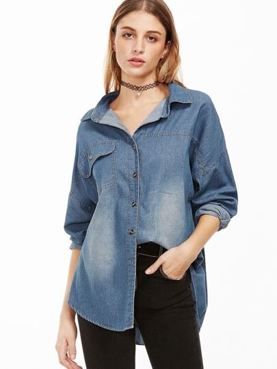 Blue Single Breasted Denim Blouse With Pocket